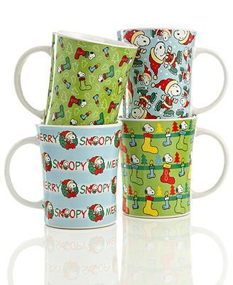 Gibson Mugs Set of 4 Snoopy Christmas @ niftywarehouse.com #NiftyWarehouse #Peanuts #CharlieBrown #Comics #Gifts #Products