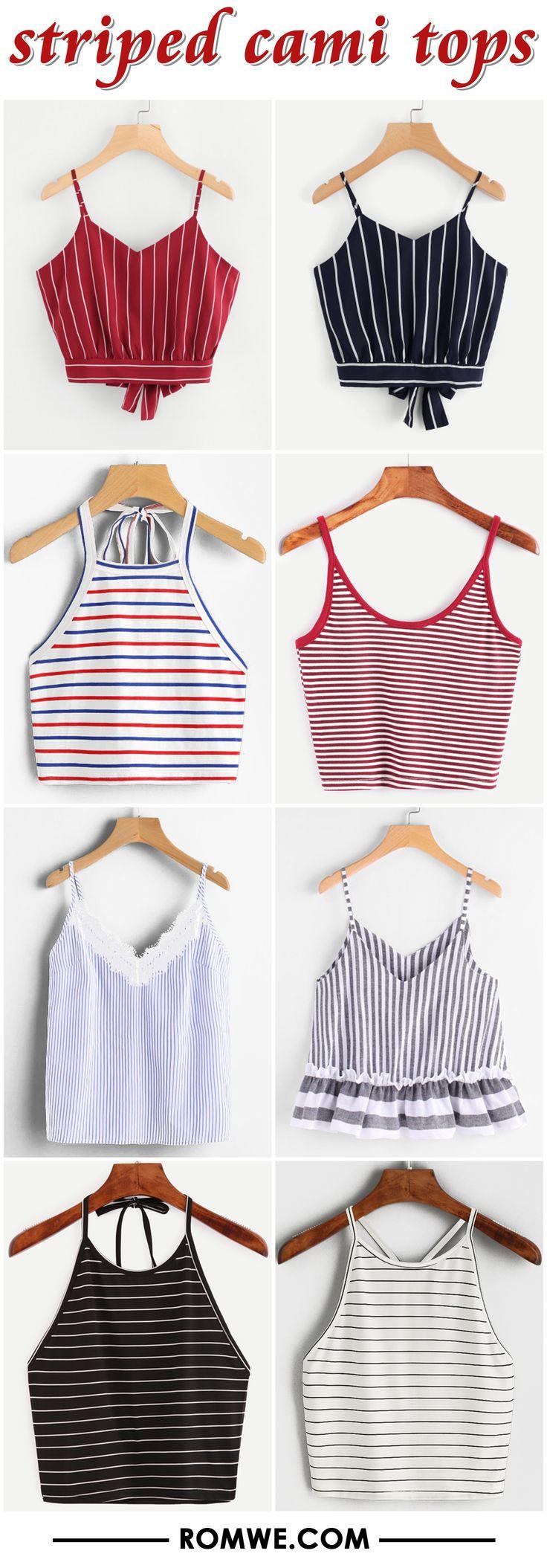 striped cami tops 2017 - romwe.com