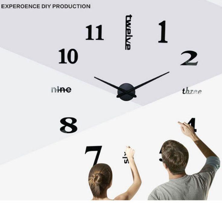 Home Decor Extra Large Mirror Face Quiet Quartz Movement DIY 3D Wall Clock Black