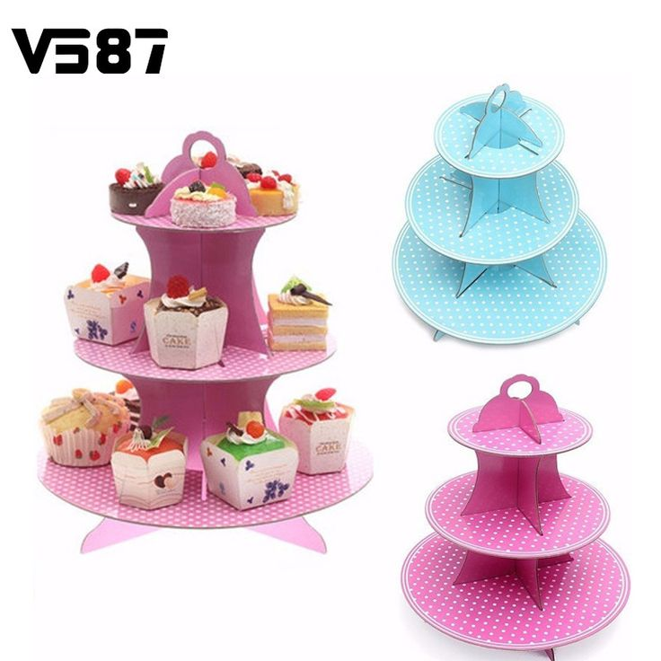 3 Tier Cardboard Cupcake Stand For Party Muffins