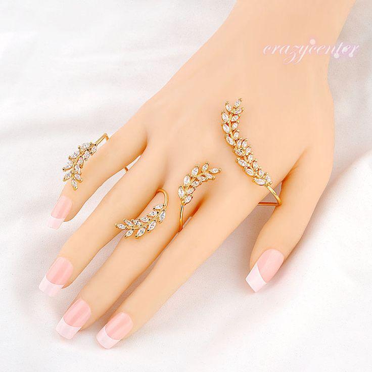 Women Palm Cuff Aaa Zirconia Hand Cuff Bangle Punk Ring Yellow Gold Plated Gift