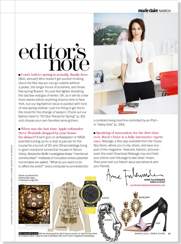 Editor's Note clipped from Marie Claire using Netpage.