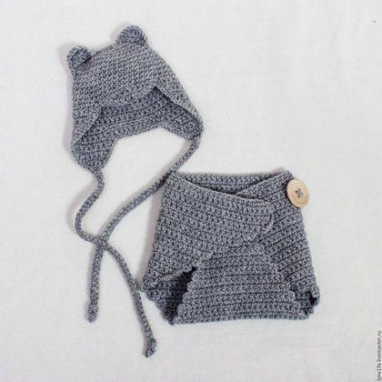 """Crochet clothes set for newwborn / Для новорожденных, ручной работы. Заказать Комплект для фотосессии """"Мышонок"""". Мода из комода. Ярмарка Мастеров. Комплект для малыша, одежда для новорожденных"""