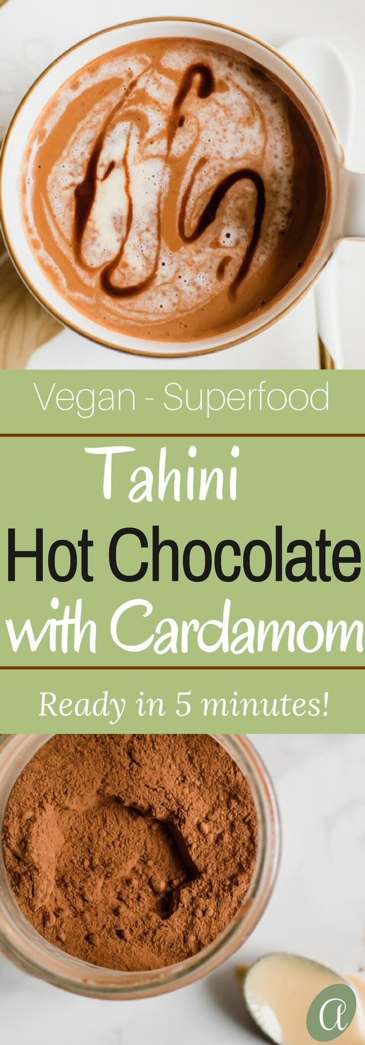 A rich and creamy vegan hot chocolate recipe touched with a pinch of fragrant cardamom and nutty tahini. Hot chocolate that is loaded with good for you ingredients and easily prepared in 5 minutes! #paleo #vegan #dairyfree #superfood #hotchocolate via @abrapappa