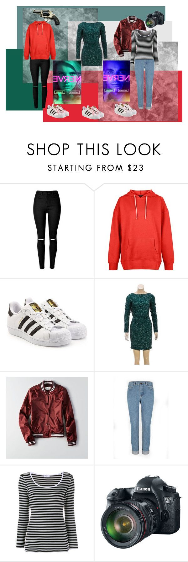 """Vee's Outfits (Nerve)"" by khyligordon on Polyvore featuring New Look, adidas Originals, Oday Shakar, American Eagle Outfitters, Frame Denim and Eos"