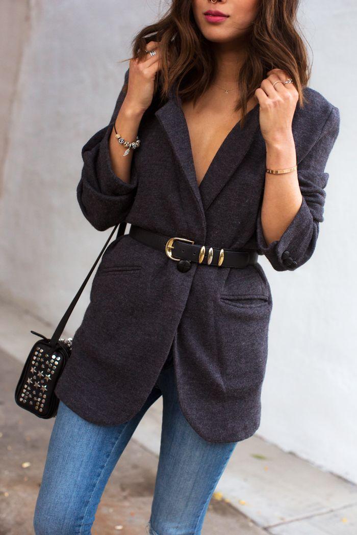 #01.06.15 Similar Coat: http://rstyle.me/n/vkgc9bgzq7 ,  Jeans: http://rstyle.me/n/vkgdvbgzq7 , Diesel black gold studded bag.   http://www.songofstyle.com/…/belted-blazer-skinny-jeans.html