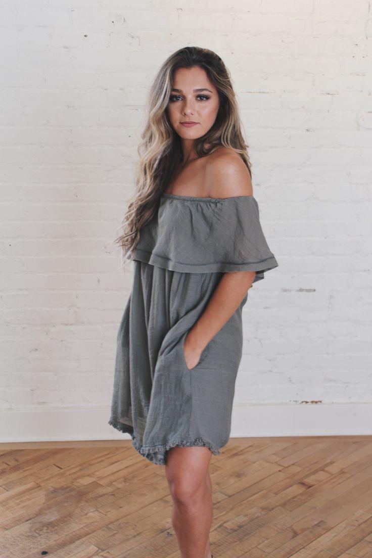 Autumn Dress + Everest & Co. + Summer Dress + Olive Green Dress + Off the Shoulder Dress + Women's Fashion