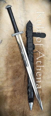 Darksword Oslo Two Handed Viking Sword - Black with integrated Sword Belt