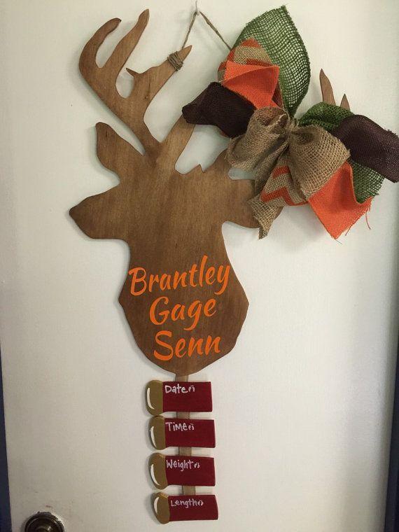 Deer Buck Baby Hospital Door Hanger Room  by craftigirlcreations