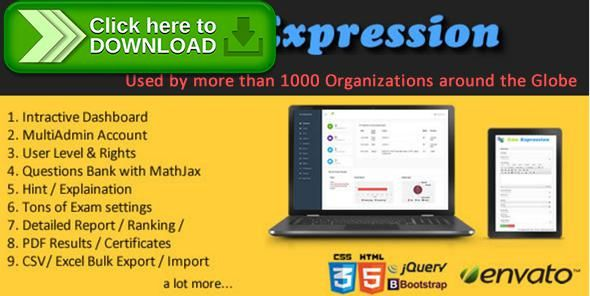 [ThemeForest]Free nulled download Edu Expression Exam Pro. from http://zippyfile.download/f.php?id=42565 Tags: ecommerce, best online examination system, CakePHP online examination software, Edu Expression Pro, Edu Expression Pro Version, online examination script, online examination software, Online Examination System, open source ibps online examination system, open source online examination eoftware, open source open source online examination system, php online examination