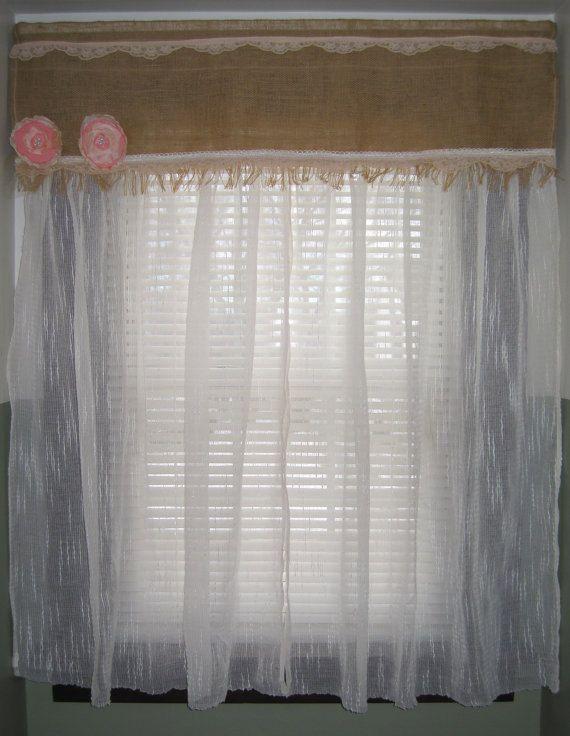 Handmade Burlap Lace Combination Window Curtain Drapes