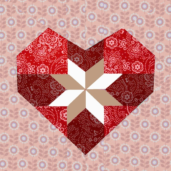 Sweet Heart paper pieced quilt block pattern PDF. Great for my company name banner at fairs......