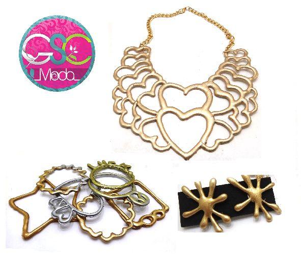 Que tal este #look que tenemos para hoy en Gsc Moda #collares #pulseras #zarcillos #silicon #polimero #dorado #gold #diseno hecho en #venezuela #vzla #caracas #ccs #estilo #accesorios #bisuteria www.gscmoda.com