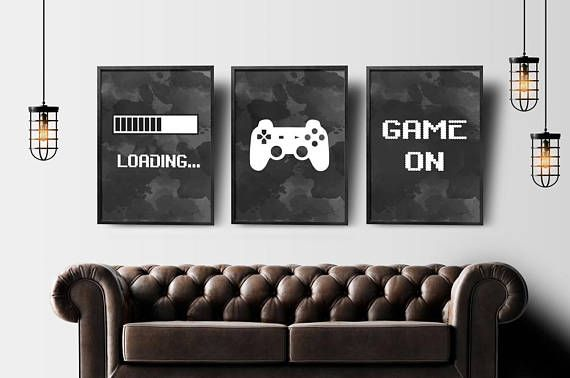 Gaming Wall Art Set Of 3 Gaming Prints Set Video Game Print Etsy Gaming Wall Art Game Room Decor Boys Game Room