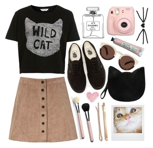 """""""Wild cat"""" by rheeee ❤ liked on Polyvore featuring Miss Selfridge, Glamorous, Vans, Forever 21, Polaroid, Illesteva, Shabby Chic and Madewell"""