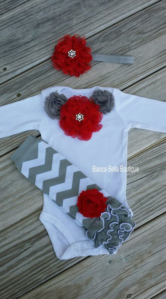 Baby Girl Outfit / Red And Gray Chevron Outfit Girl Birthday Outfit Smash Cake Outfit