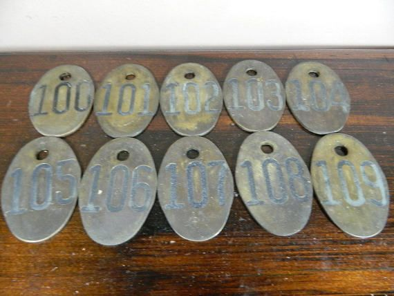 To label bunk beds or mudroom cubbies. Vintage Brass Cow Tag- Lot of 10 - Number 100, 101, 102, 103, 104, 105, 106, 107, 108, 109 - Vintage Cattle Tag - Industrial Numbered Marker