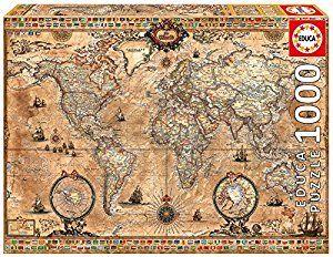 Amazon.com: Antique World Map 1000-Piece Puzzle: EDUCA: Toys & Games