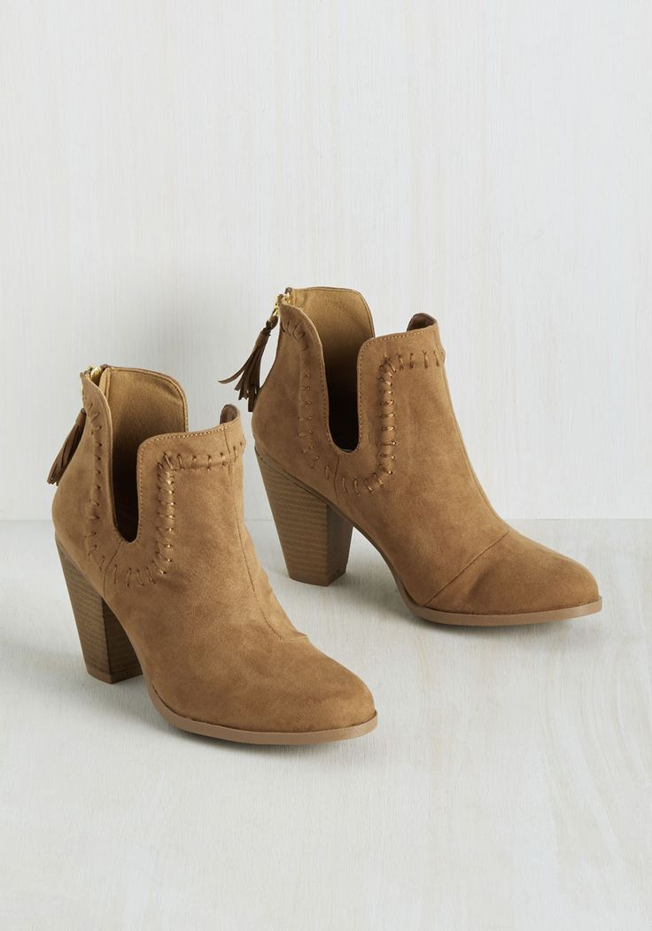 Save the Best for Lasso Bootie. They say missing things are always in the last place you look, but with your fashion prowess, you managed to complete your wardrobe with these western booties quickly. #brown #modcloth