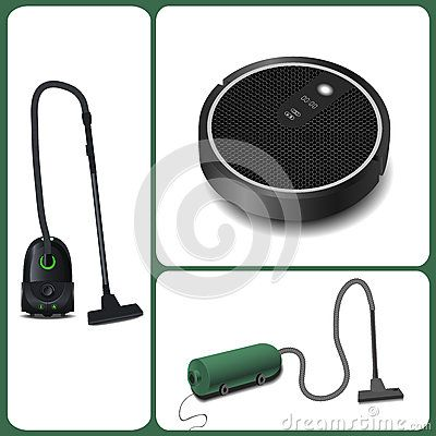 Evolution of vacuum cleaners. modern vacuum cleaner and robot vacuum cleaner. vector