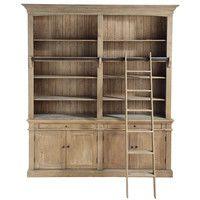 Black Solid Pine Bookcase with Ladder   Maisons du Monde