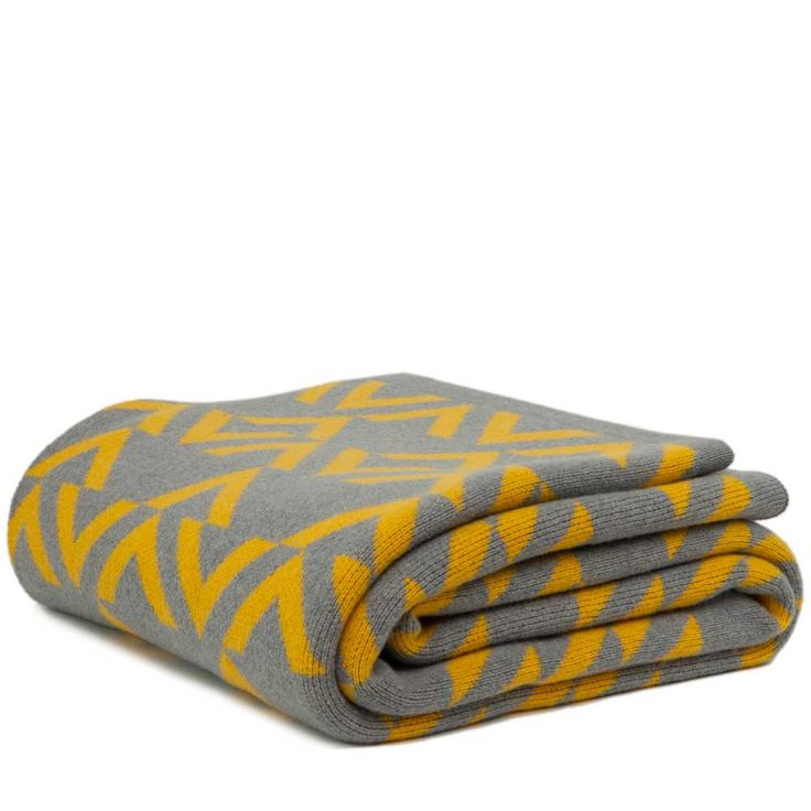 Sofa BedSleeper Sofa Geo knitted blanket pamplemousse and seal Yellow Throw BlanketSofa