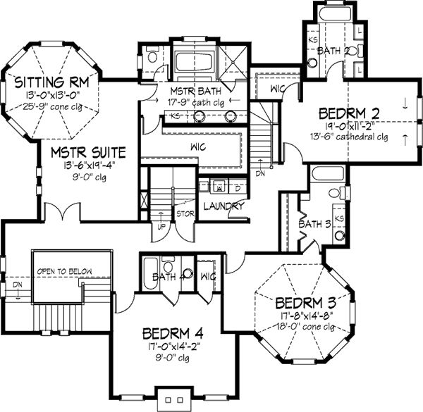 BACK STAIRS!!!!!!!!!!!!!!!!!!!!!! Second Floor Plan of Country   Victorian   House Plan 57563