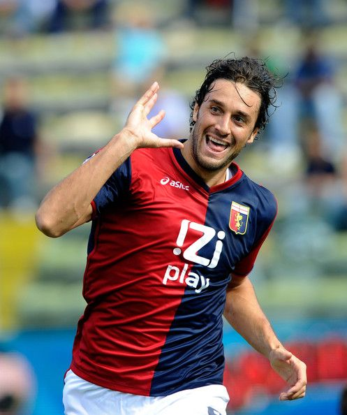 Luca Toni of Genoa CFC celebrates scoring during the Serie A match between Parma and Genoa at Stadio Ennio Tardini on September 19, 2010 in Parma, Italy.