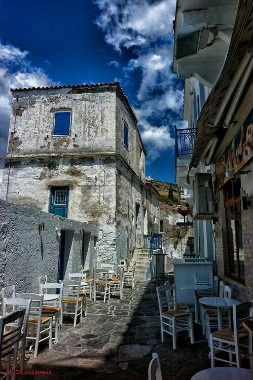 Old alley in Batsi, Andros island