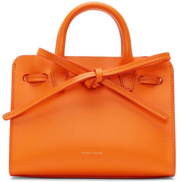 Mansur Gavriel Orange Mini Mini Sun Tote ($500) ❤ liked on Polyvore featuring bags, handbags, tote bags, orange, purse tote, drawstring tote bags, man bag, mini handbags and drawstring tote