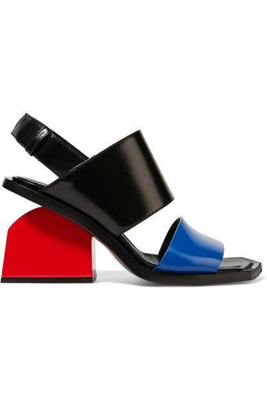 Heel measures approximately 80mm/ 3 inches Bright-blue, black and red glossed-leather Buckle-fastening slingback strap Made in Italy