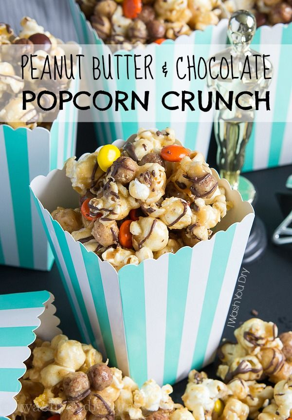 Make your movie nights a little more exciting with this Peanut Butter and Chocolate Popcorn Crunch Mix! Reese's Puffs Cereal is combined with popcorn and covered in a soft peanut butter caramel and drizzled with chocolate for a sweet crunch you can't keep your hands off of! I can't tell you how much I'm in love with this popcorn. Not only are Reese's Puff Cereal one of my favorites (who can resist a peanut butter and chocolate cereal??), but when it's combined with thi...