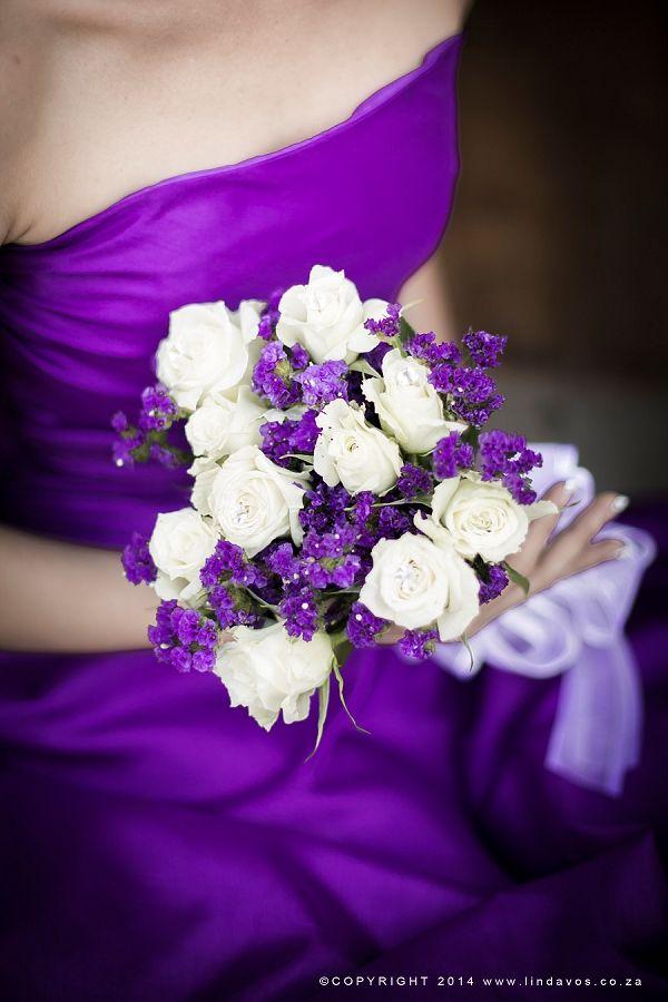 Purple & white bouquet. www.lindavos.co.za