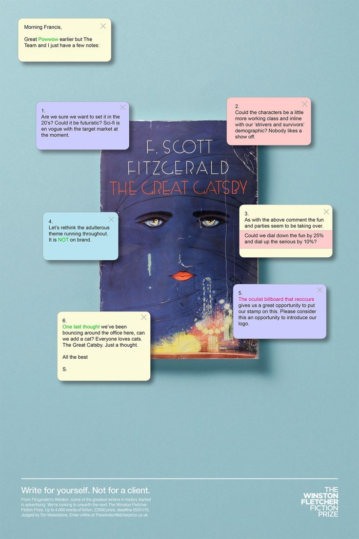 Client Feedback on Famous Novels Reminds Ad People There's Other Writing Out There | Adweek http://www.adweek.com/adfreak/client-feedback-famous-novels-reminds-ad-people-theres-other-writing-out-there-164115