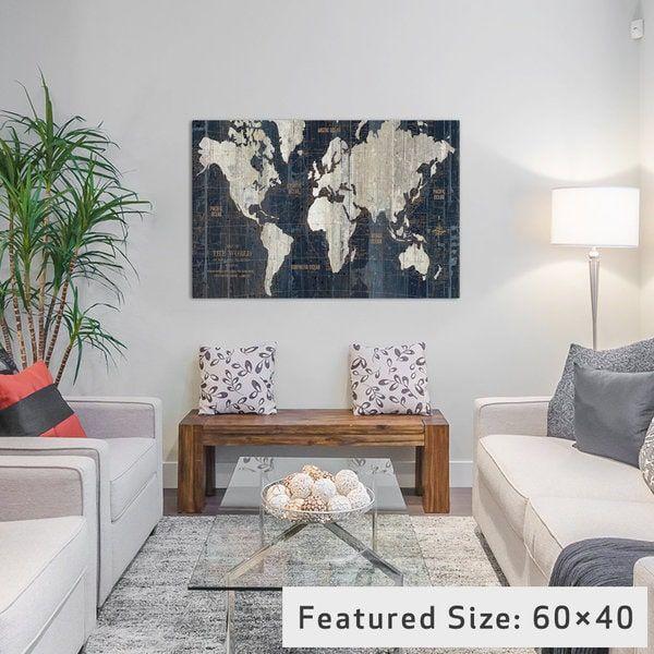 iCanvas Old World Map Blue by Wild Apple Portfolio Canvas Print