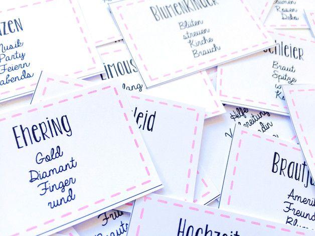 **_Hochzeits Tabu_**  Lustiges Spielchen für den gemütlichen Junggesellinnenabschied. Angelehnt an den Spieleklassiker erhaltet ihr eine vierseitige Datei mit 72 Kärtchen zum drucken und...