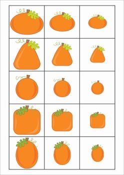 Math Centers for Kindergarten - Autumn / Fall. 123 pages. A page from the unit: Sorting by size - small - medium - large - pumpkins.