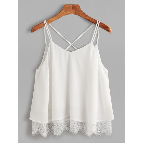 White Lace Trim Crisscross Notch V Back Cami Top (£6.95) ❤ liked on Polyvore featuring tops, shirts, white, white singlet, white cami, criss cross top, camisole tank top and white criss cross top