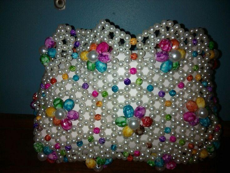 Multi tiedye bead medium size handbag