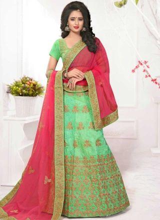 Parrot Green Pink Embroidery Work Net Silk Fancy Designer Wedding Lehenga Choli http://www.angelnx.com/Lehenga-Choli/Designer-Lehenga-Choli