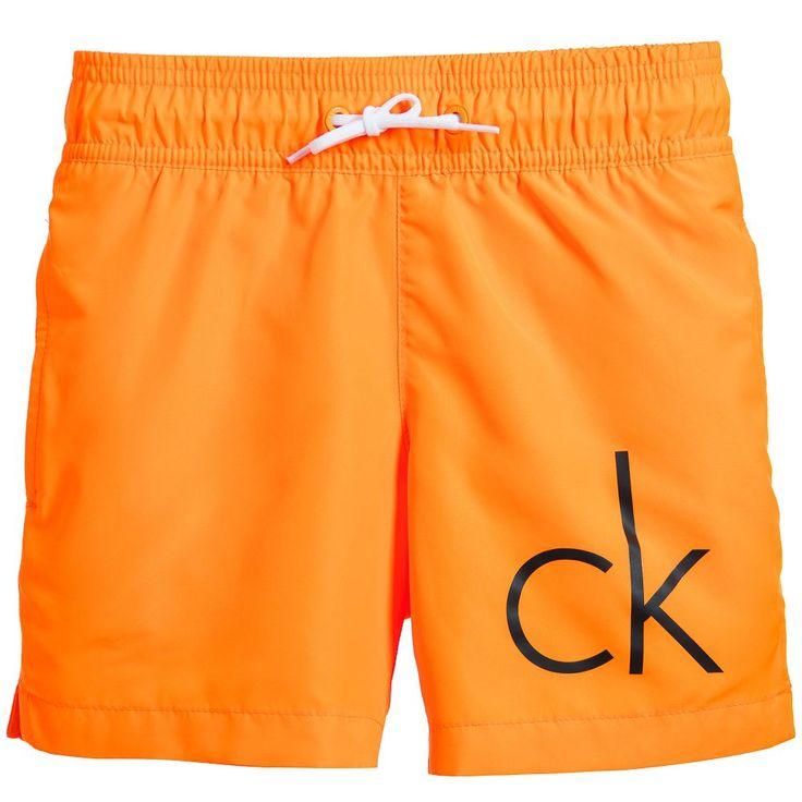 Calvin Klein Boys Neon Orange Swim Shorts at Childrensalon.com