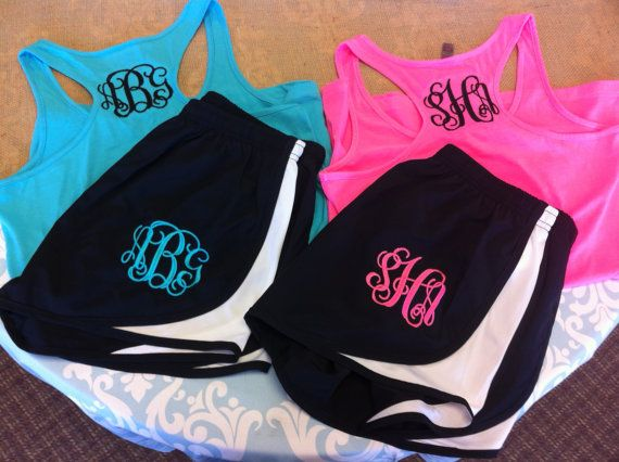 Listing is for Racerback Tank and Shorts Set. Items are Womens Fit.  Include at checkout: Size and Color of Tank Size of Shorts Color and Font of