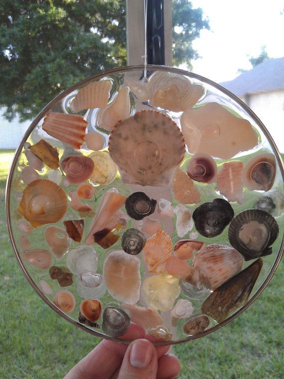 Stained Glass Epoxy Resin Sun Catcher Sea Shells Sand