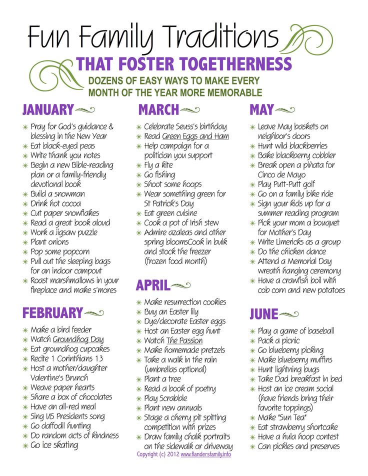 Fun Family Traditions for each month...i could adapt some of these for india, i think!