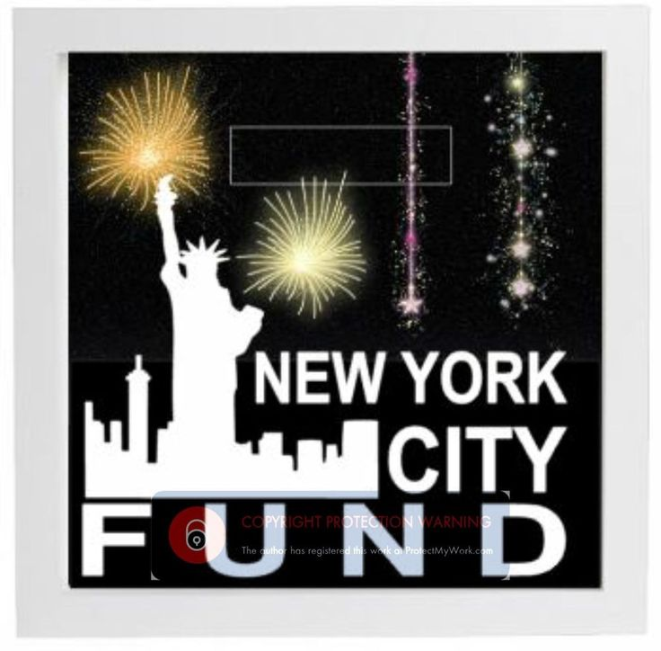 Personalised Money Box Sticker - NEW YORK CITY FUND sticker - Glitter Backing
