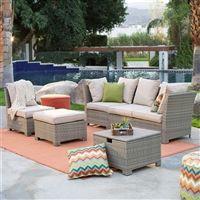 Natural Outdoor Wicker Resin Patio Furniture Conversation Set