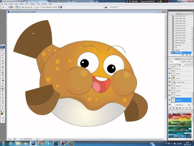 Illustrating drawing painting - cartoon fish Jak namalować rybkę