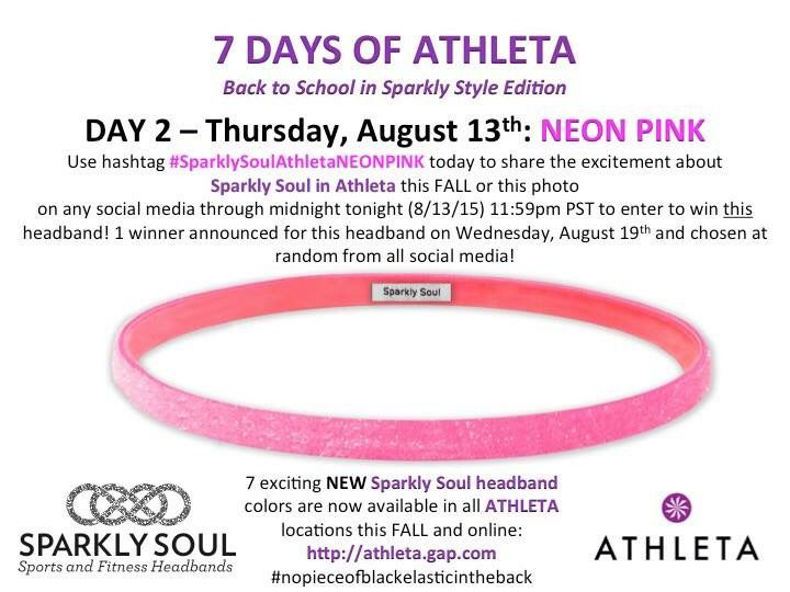It is Day 2 of the #7DaysofAthleta - we are all about this Neon Pink Thin @sparklysoulinc Headband available at all @Athleta locations or online here: http://athleta.gap.com/browse/product.do?vid=1&pid=489243072 - Enter to win this headband for today Wednesday, August 13th by doing any or all of the following: SHARING this exciting news or this photo with #SparklySoulAthletaPINK (extra entry if you tag your local Athleta store) Enter through 11:59pm PST tonight 1 winner chosen on 8/19