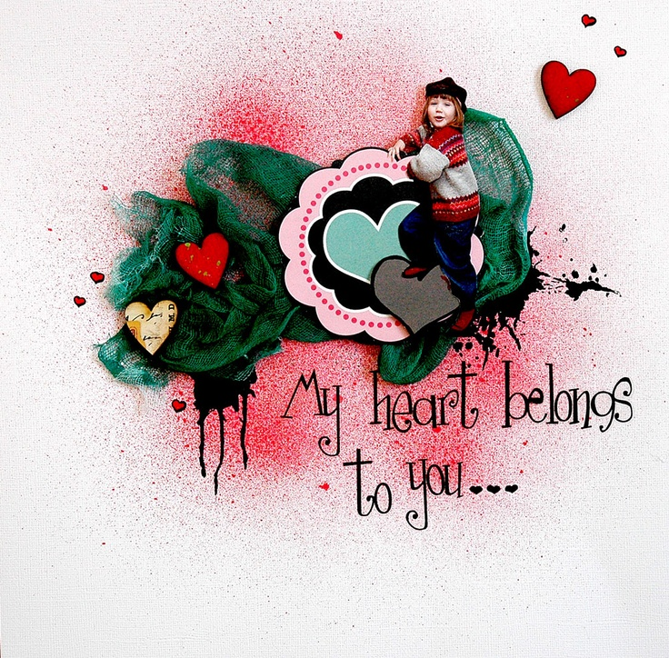 My heart belongs to you - Scrapbook.com: Idea Scrap, Neat Idea, Galleries, Scrapbook Card, Beauty Scrapbook, Images, Sprays Paintings, Scrapbook Layout, Favorite Scrapbook