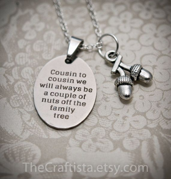 Cousin Necklace -C10B- Cousin Gift, Cousin Necklace, Cousin Jewelry, Gifts for Cousins, Acorn charm, Cousin Pendants, Cousin Charms, Cousins